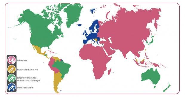 Visavergabepraxis für die Einreise (Karte 2)