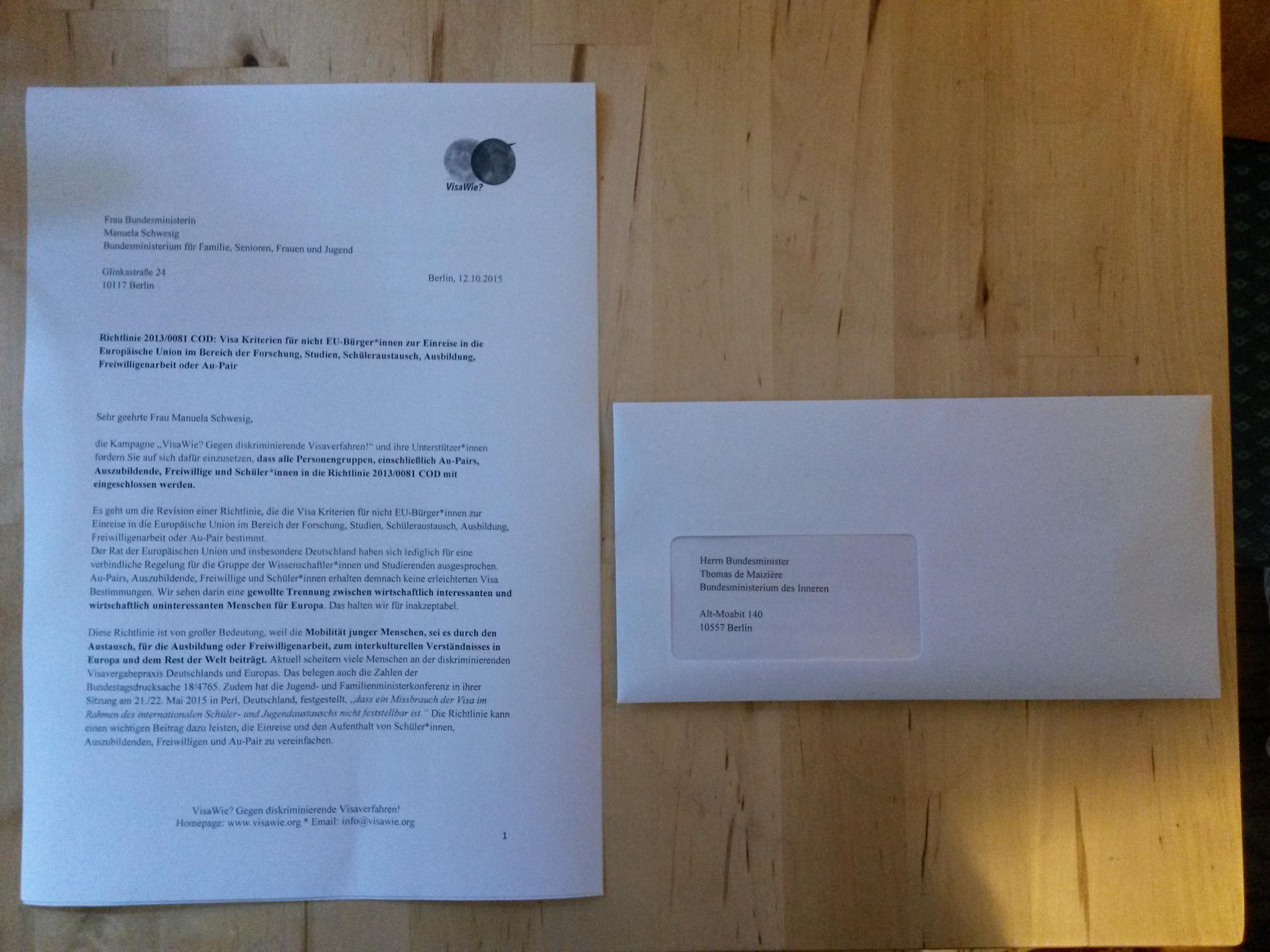 Offener Brief bezüglich der Visarichtlinie 2013/0081 COD » Visa Wie?